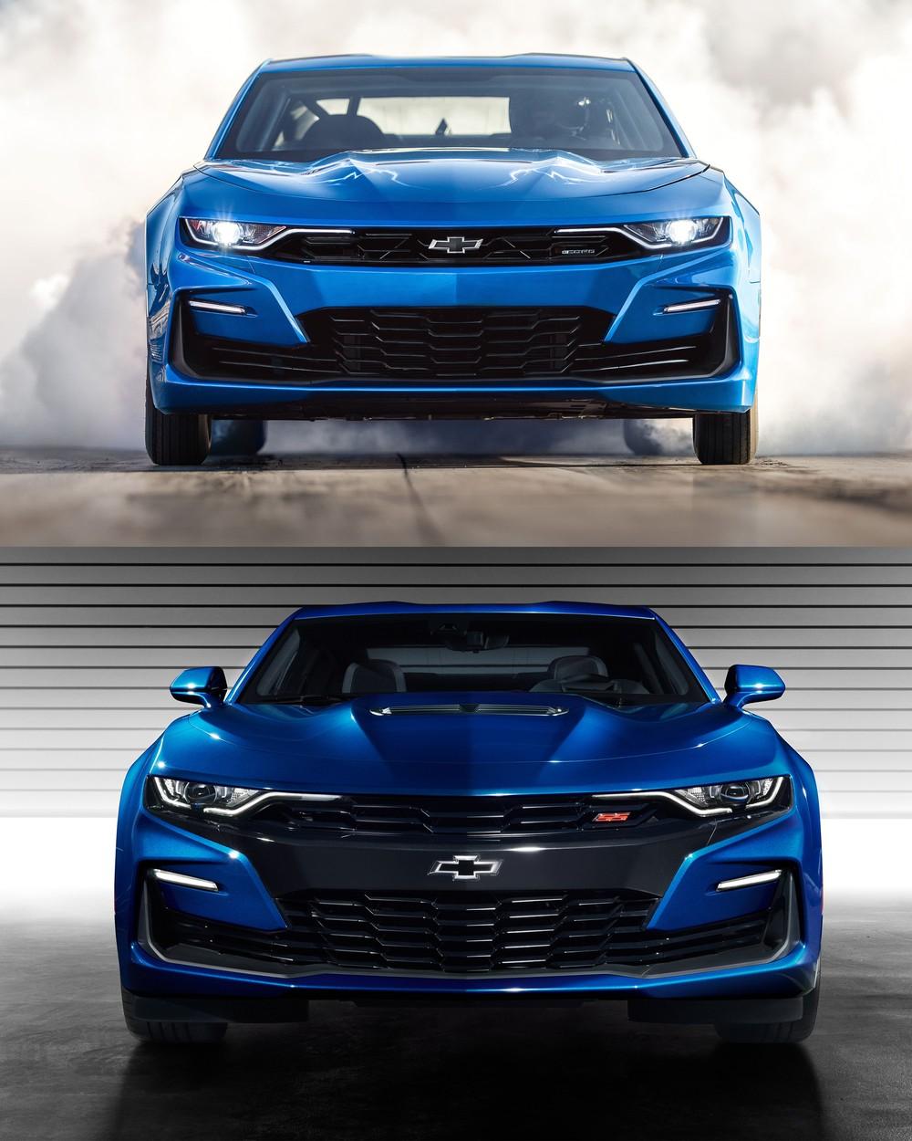 Na imagem superior, o Camaro eCopo com alterações visuais. Abaixo, a configuração SS