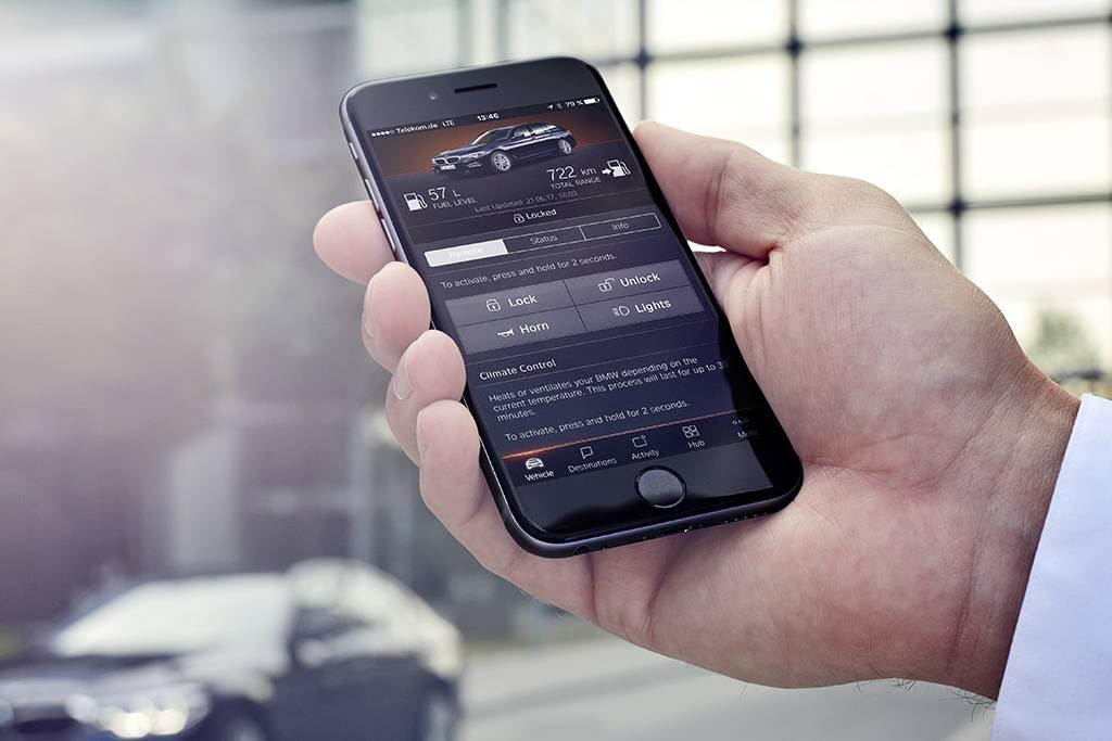 Aplicativo da BMW permite controlar diferentes funções do carro (Divulgação/BMW)