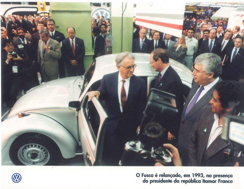 Relançamento do Fusca em 1993 com o Presidente Itamar Franco