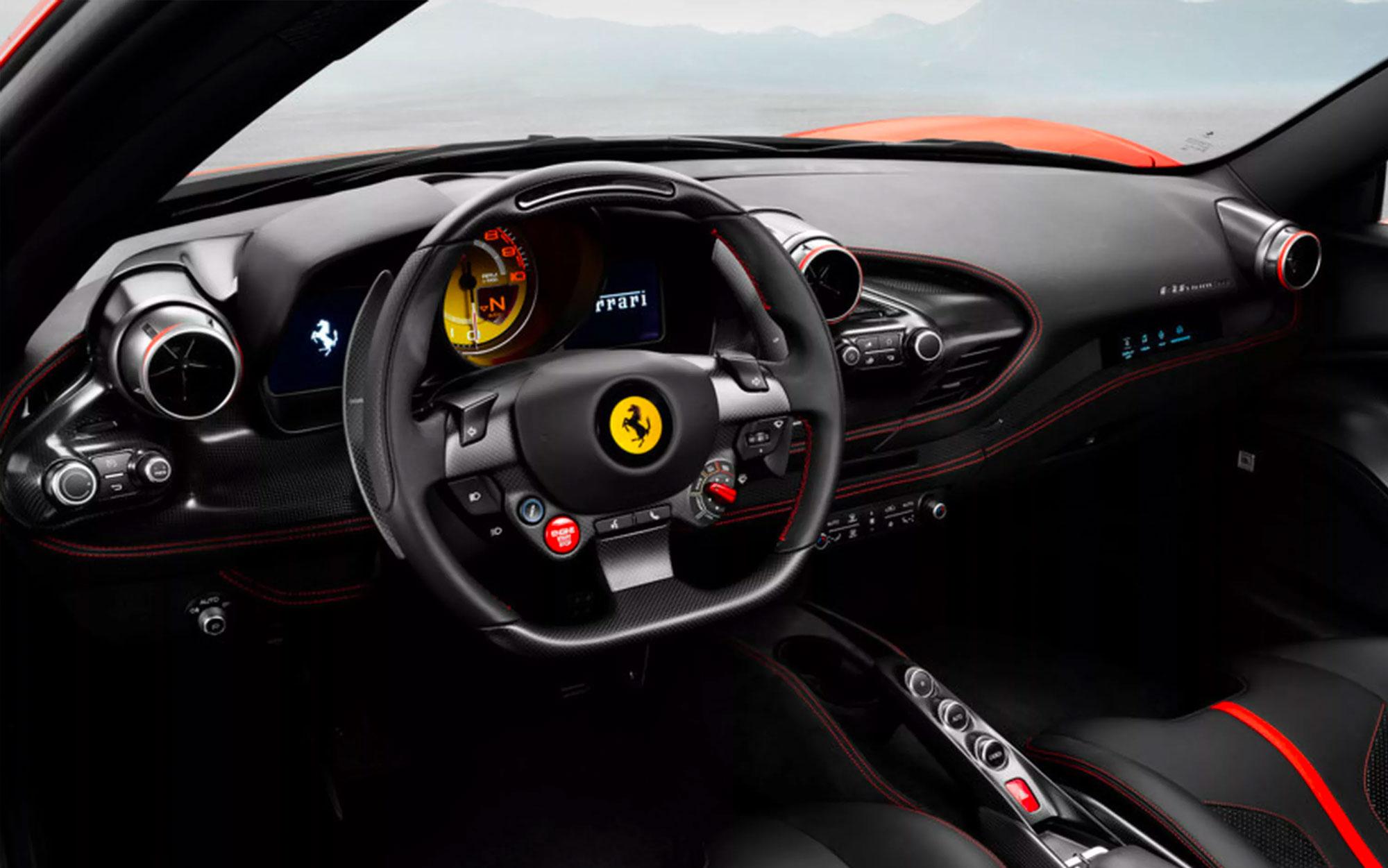Interior da Ferrari F8 Tributo