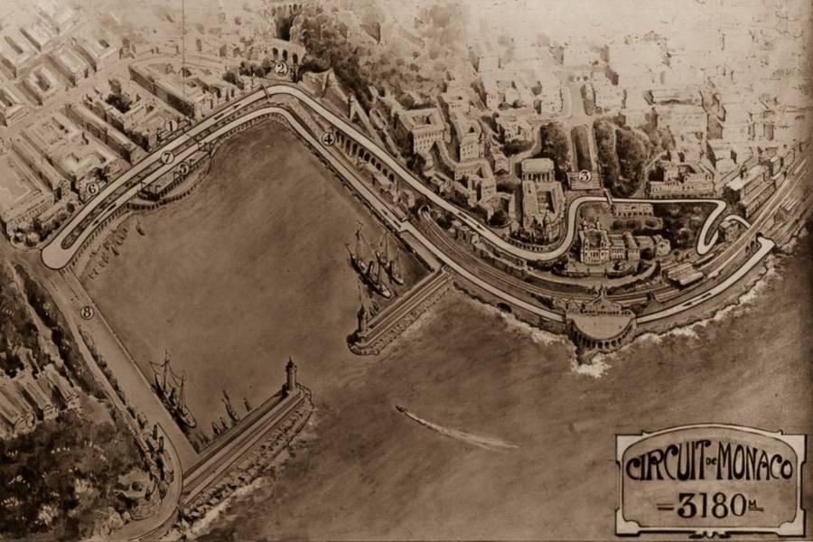 Mapa do circuito de Monte Carlo em 1929, ano da primeira edição do GP de Mônaco — Foto: Reprodução