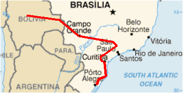 Rota do Gasoduto Bolívia-Brasil