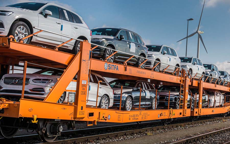 Transporte na Europa da Volvo passa a utilizar trens para redução de CO2