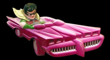 Batmóvel rosa foi lançado em 1974.