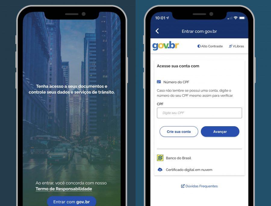 Tela de login do aplicativo Carteira Digital de Trânsito