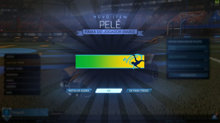 Faixa em homenagem à Pelé no Rocket League