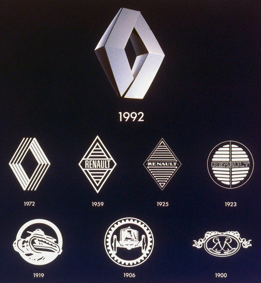 Desde 1900 a Renault já promoveu várias mudanças em sua identidade visual