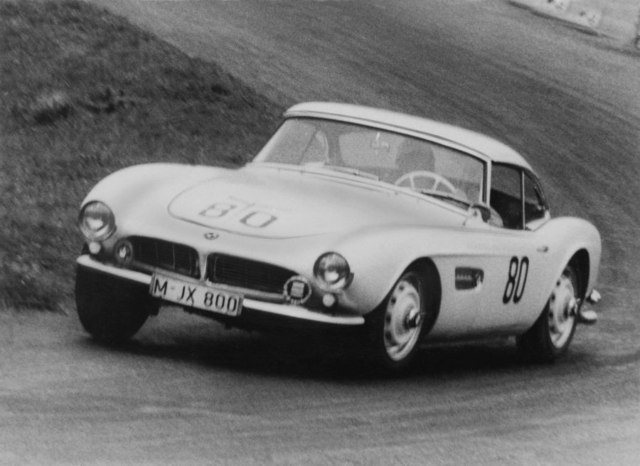 """Elvis` BMW 507. Hans Stuck achieves class win at the """"Grosser Bergpreis von Deutschland"""" Hillclimb at Schauinsland near Freiburg in 1958 with the BMW 507, VIN 70079"""